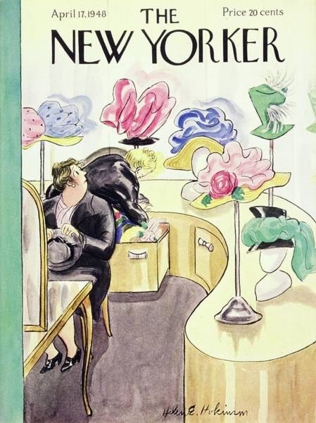 Headgear Painting - New Yorker Magazine Cover Of Women In A Hat Store by Helene E. Hokinson