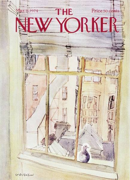 Pigeon Painting - New Yorker March 11th 1974 by James Stevenson