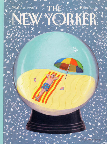 Snowing Painting - New Yorker March 12th, 1990 by Kathy Osborn