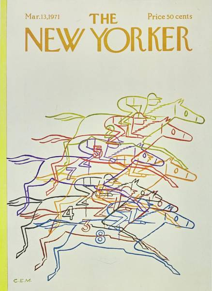 Race Horse Painting - New Yorker March 13th 1971 by Charles Martin