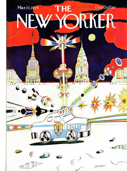 Skyscrapers Painting - New Yorker March 13th, 1978 by Saul Steinberg