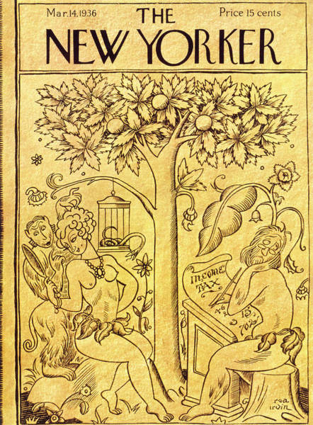 Magazine Cover Painting - New Yorker March 14 1936 by Rea Irvin