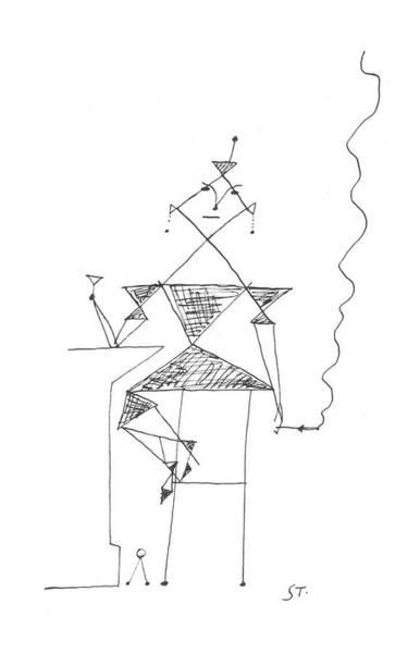 Interpretation Drawing - New Yorker March 16th, 1957 by Saul Steinberg