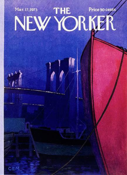 Mid Atlantic Painting - New Yorker March 17th 1973 by Charles Martin