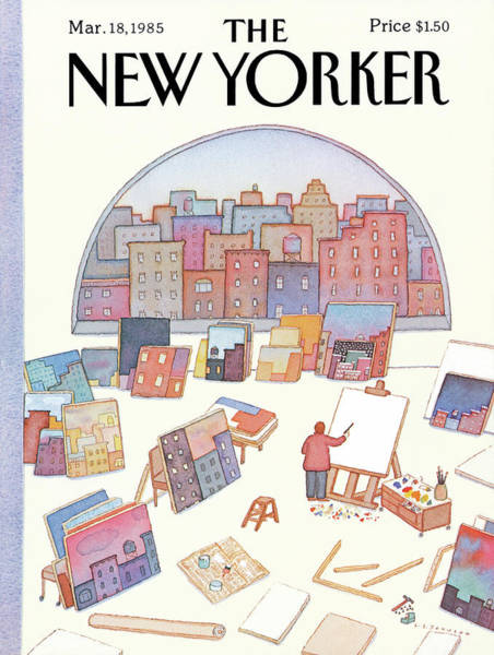 Skyscrapers Painting - New Yorker March 18th, 1985 by Lonni Sue Johnson