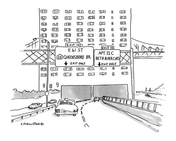Highway Drawing - New Yorker March 19th, 1990 by Michael Crawford