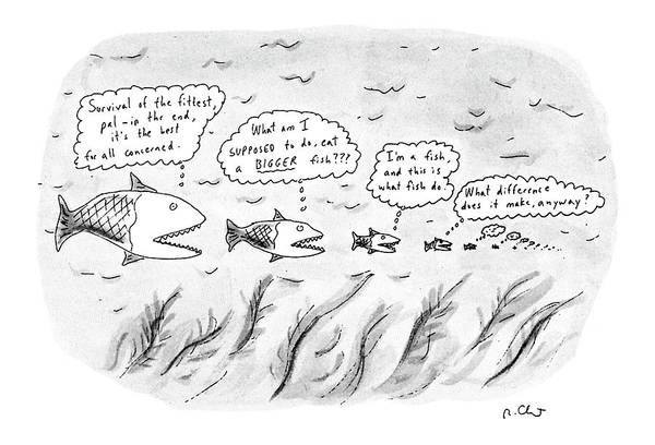 Line Up Drawing - New Yorker March 19th, 1990 by Roz Chast