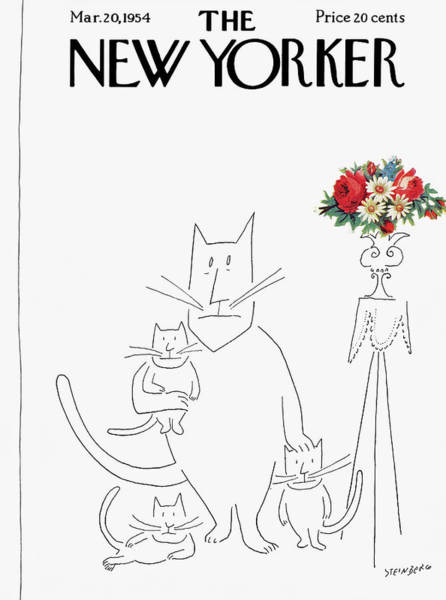 Family Painting - New Yorker March 20th, 1954 by Saul Steinberg