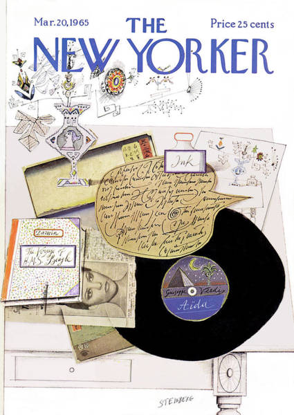 Table Painting - New Yorker March 20th, 1965 by Saul Steinberg
