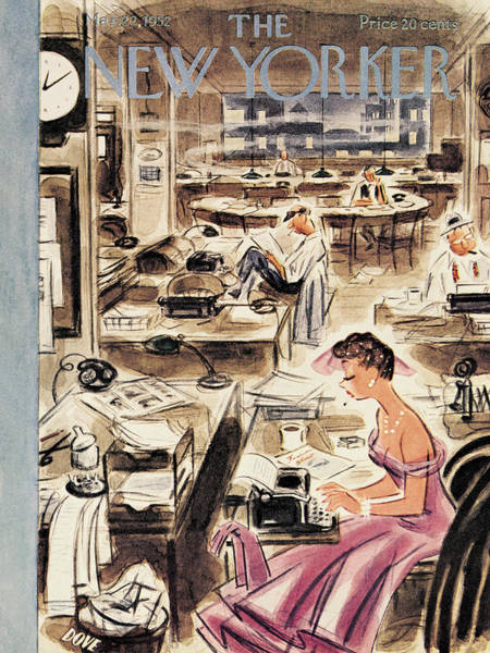 Newspaper Painting - New Yorker March 22nd, 1952 by Leonard Dove