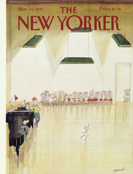 Piano Player Painting - New Yorker March 23rd, 1987 by Jean-Jacques Sempe
