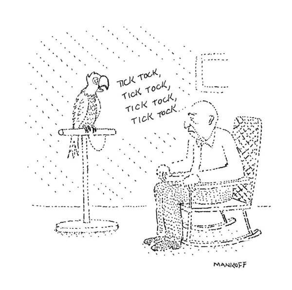 Parrot Drawing - New Yorker March 23rd, 1987 by Robert Mankoff