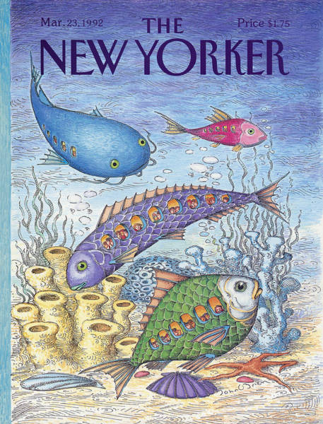 Fish Painting - New Yorker March 23rd, 1992 by John O'Brien