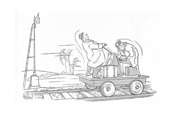 Train Track Drawing - New Yorker March 25th, 1944 by George Price