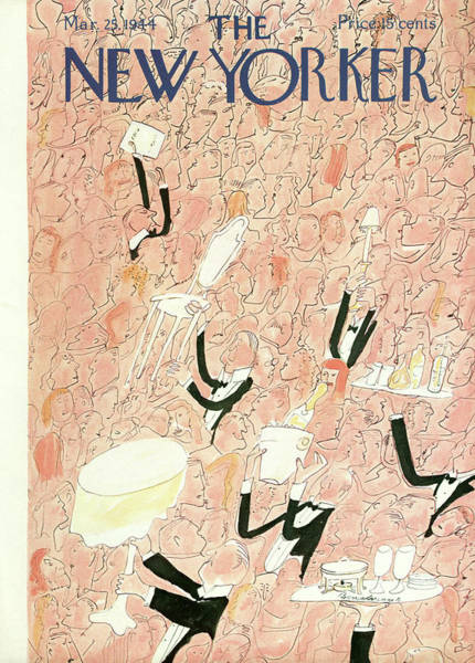 Restaurant Painting - New Yorker March 25th, 1944 by Ludwig Bemelmans