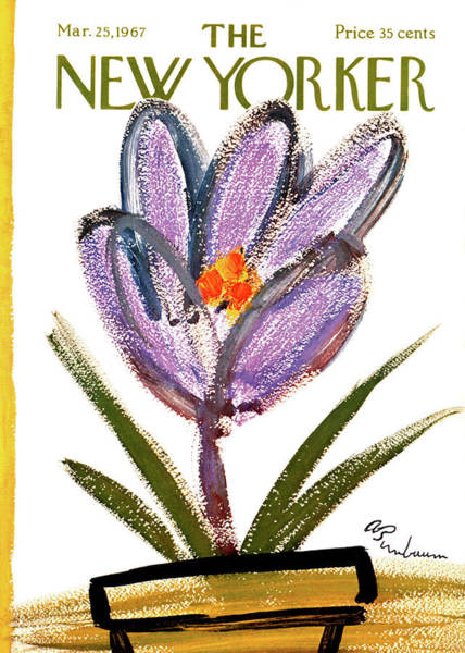 Purple Flower Painting - New Yorker March 25th, 1967 by Abe Birnbaum