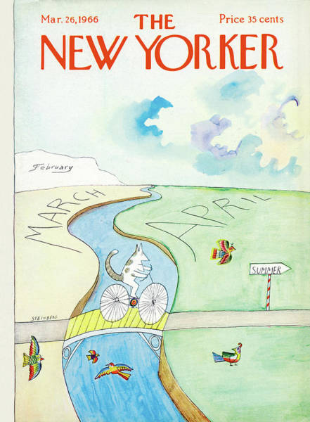 Bicycle Painting - New Yorker March 26th, 1966 by Saul Steinberg