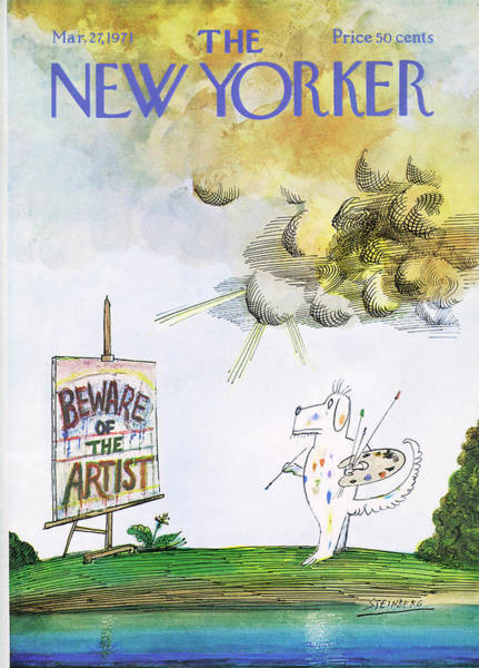 Men Painting - New Yorker March 27th, 1971 by Saul Steinberg