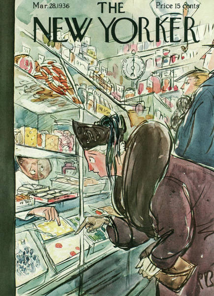 Shopping Painting - New Yorker March 28th, 1936 by Perry Barlow