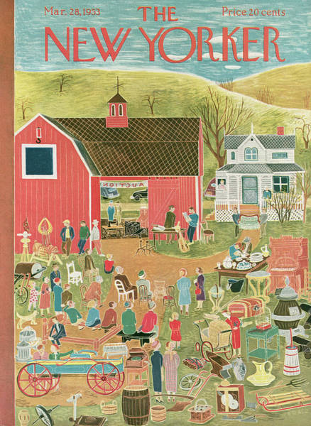 Farmer Painting - New Yorker March 28th, 1953 by Ilonka Karasz