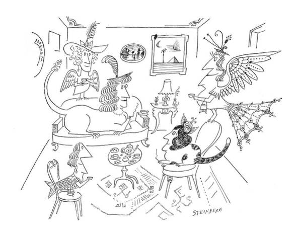 Peacock Drawing - New Yorker March 28th, 1964 by Saul Steinberg