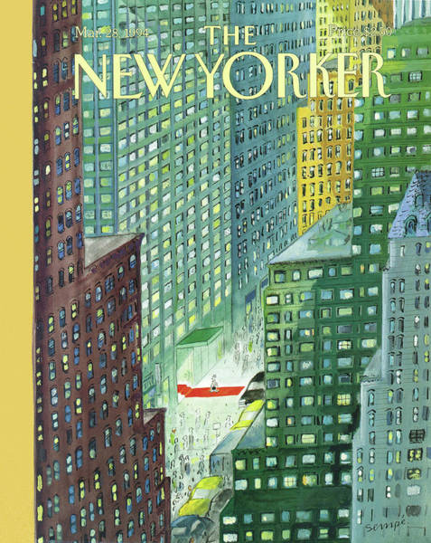 Skyscrapers Painting - New Yorker March 28th, 1994 by Jean-Jacques Sempe