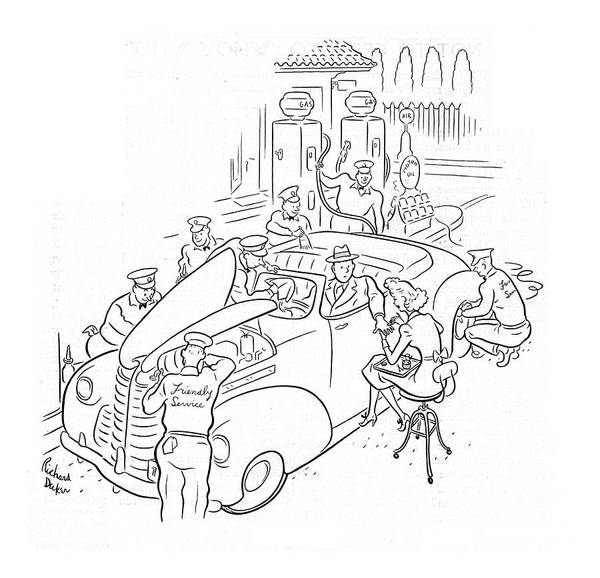 Gas Station Drawing - New Yorker March 29th, 1941 by Richard Decker