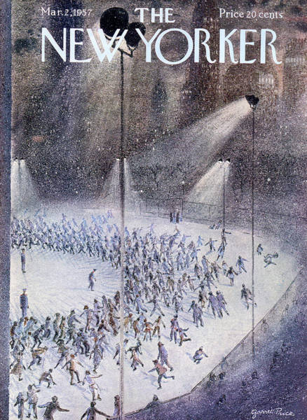 Skating Painting - New Yorker March 2nd, 1957 by Garrett Price
