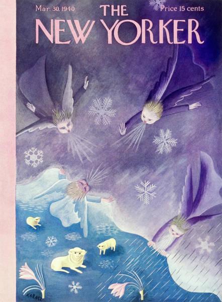 Blue Flower Painting - New Yorker March 30 1940 by Ilonka Karasz