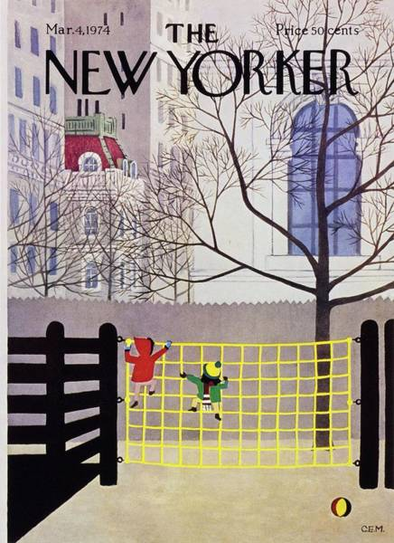 4 Seasons Painting - New Yorker March 4th 1974 by Charles Martin