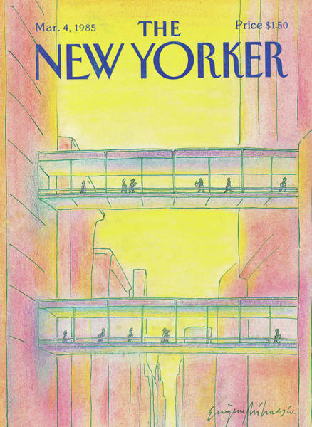 Skyline Painting - New Yorker March 4th, 1985 by Eugene Mihaesco