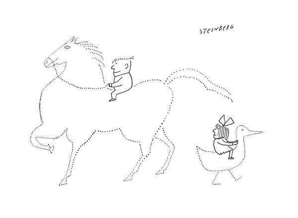 Imagination Drawing - New Yorker March 7th, 1959 by Saul Steinberg