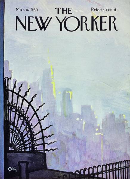 Skyline Painting - New Yorker March 8th 1969 by Arthur Getz