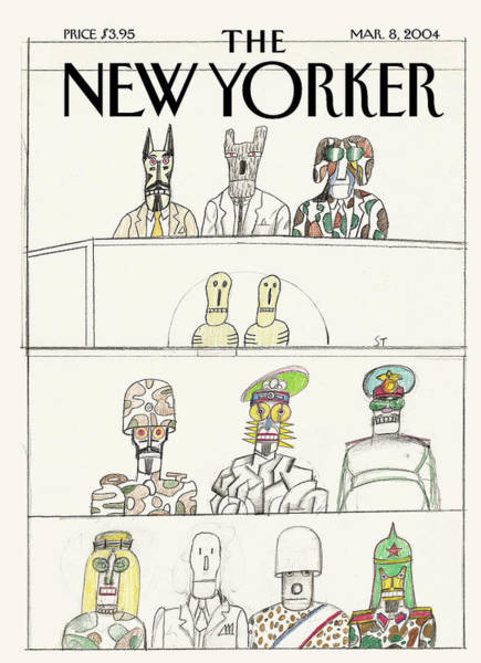 Government Painting - New Yorker March 8th, 2004 by Saul Steinberg