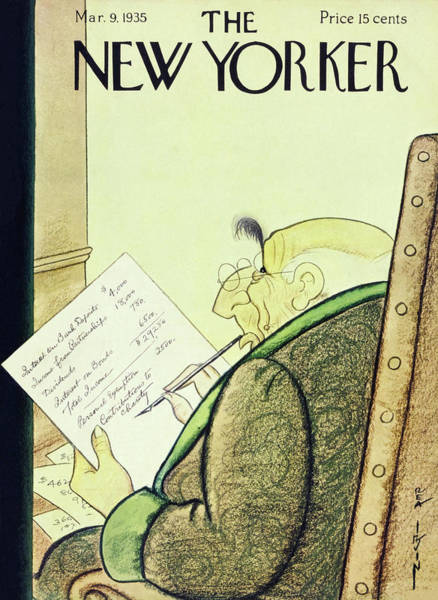 Magazine Cover Painting - New Yorker March 9 1935 by Rea Irvin