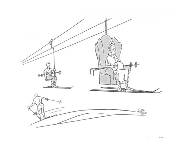 Chair Lift Drawing - New Yorker March 9th, 1940 by George Price