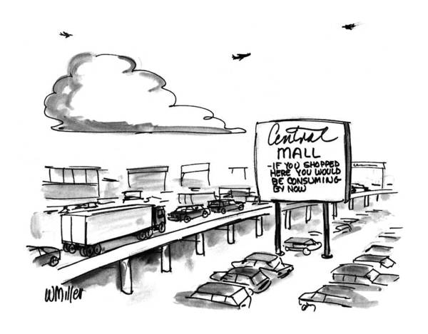 Traffic Drawing - New Yorker March 9th, 1992 by Warren Miller