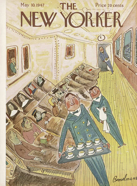 Waiter Painting - New Yorker May 10th, 1947 by Ludwig Bemelmans