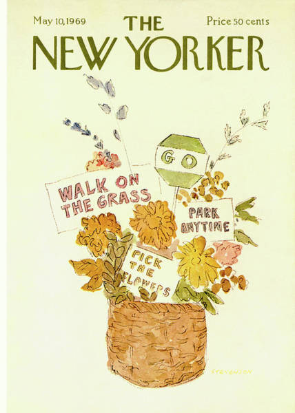 Flower Painting - New Yorker May 10th, 1969 by James Stevenson