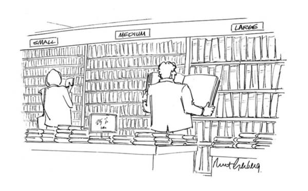 Bookstore Drawing - New Yorker May 10th, 1993 by Mort Gerberg