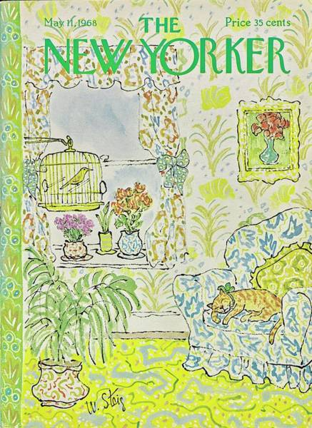 Curtain Painting - New Yorker May 11th 1968 by William Steig