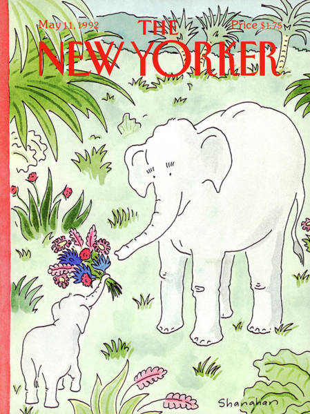 Elephant Painting - New Yorker May 11th, 1992 by Danny Shanahan