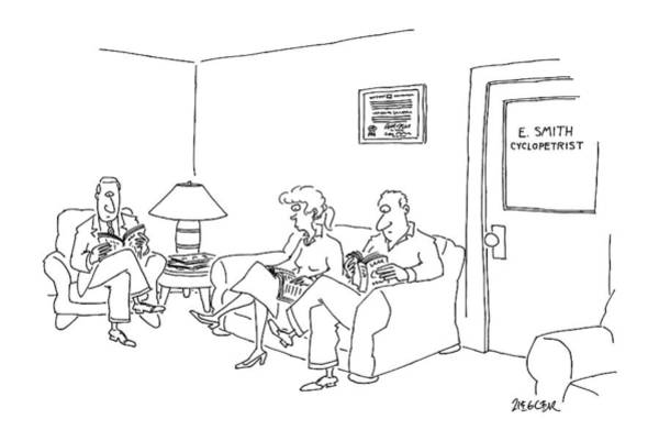 Waiting Room Drawing - New Yorker May 12th, 1997 by Jack Ziegler