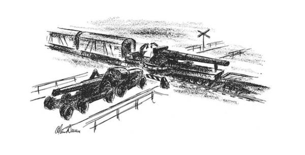 Train Track Drawing - New Yorker May 13th, 1944 by Alan Dunn