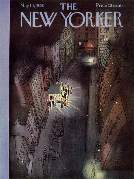 Night Painting - New Yorker May 14th 1960 by Charles Martin