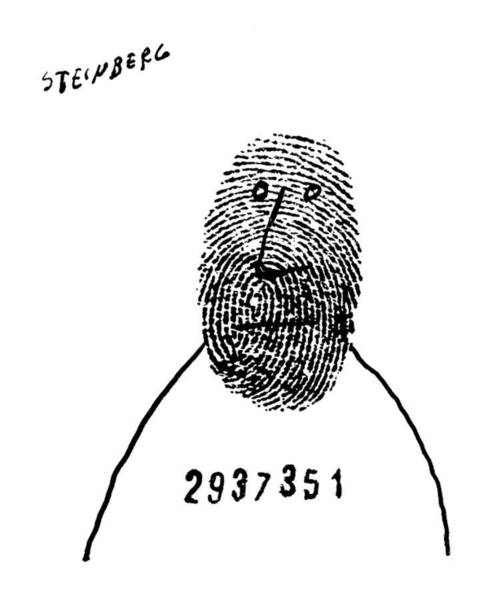 Crime Drawing - New Yorker May 15th, 1954 by Saul Steinberg