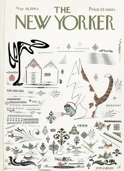 Plant Painting - New Yorker May 16th, 1964 by Saul Steinberg