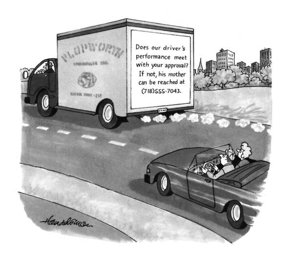 Drive Drawing - New Yorker May 17th, 1993 by J.B. Handelsman