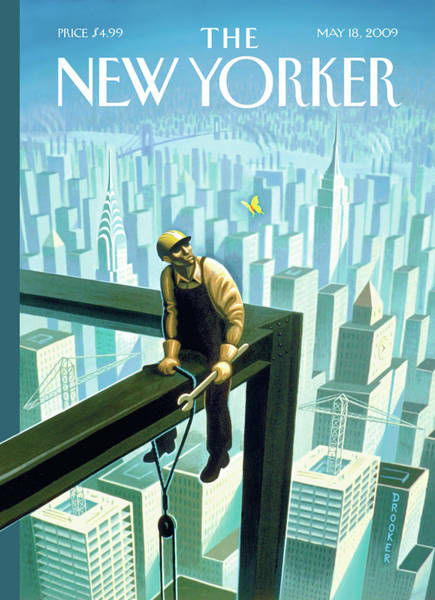 Skyline Painting - New Yorker May 18th, 2009 by Eric Drooker