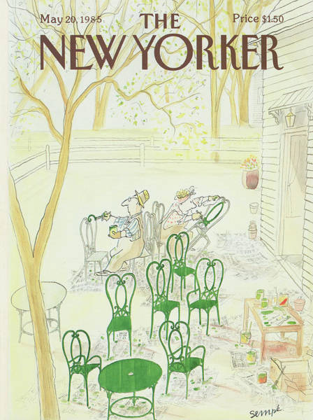 Table Painting - New Yorker May 20th, 1985 by Jean-Jacques Sempe